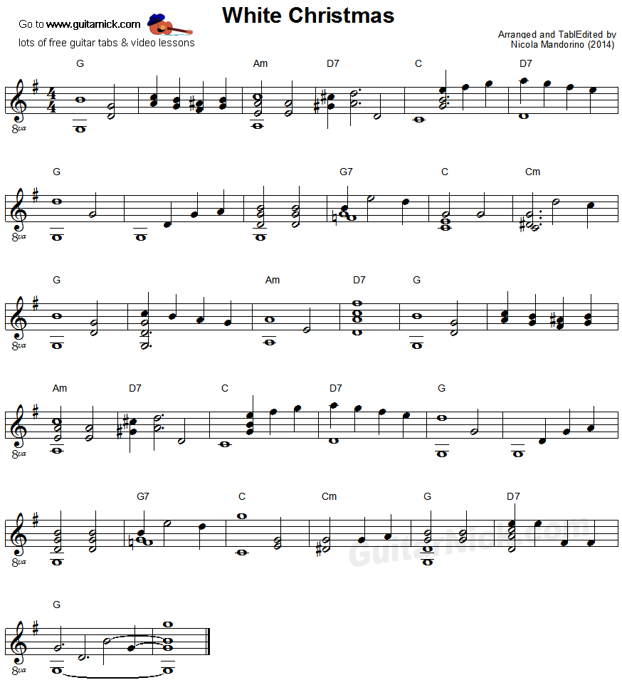 White Christmas Fingerstyle Guitar Sheet Music Fingerstyle Guitar Sheet Music Guitar Sheet Music