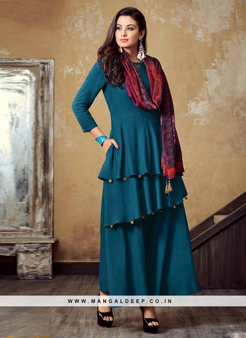 6e2ba330217 Designer Function Wear Lovely Teal Color Rayon Kurti  kurti  woman  rayon
