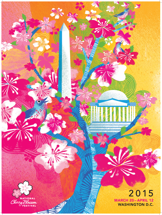 2015 National Cherry Blossom Official Poster Cherry Blossom Art Cherry Blossom Festival Cherry Blossom
