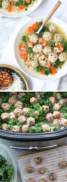 Kale, beans and mini turkey meatballs make this a filling, but healthy slow cooker dinner for any day of the week.