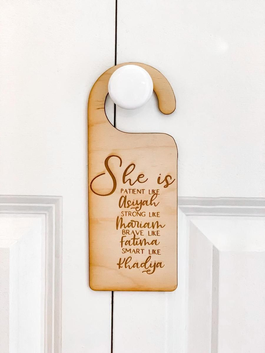 Top quality laser engraved wooden door hangers for your little