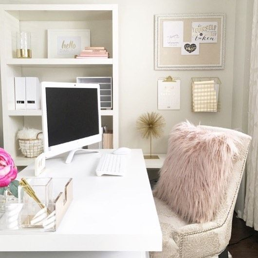Blush home office decor Home sweet home Pinterest Room decor - Home Office Decor Ideas