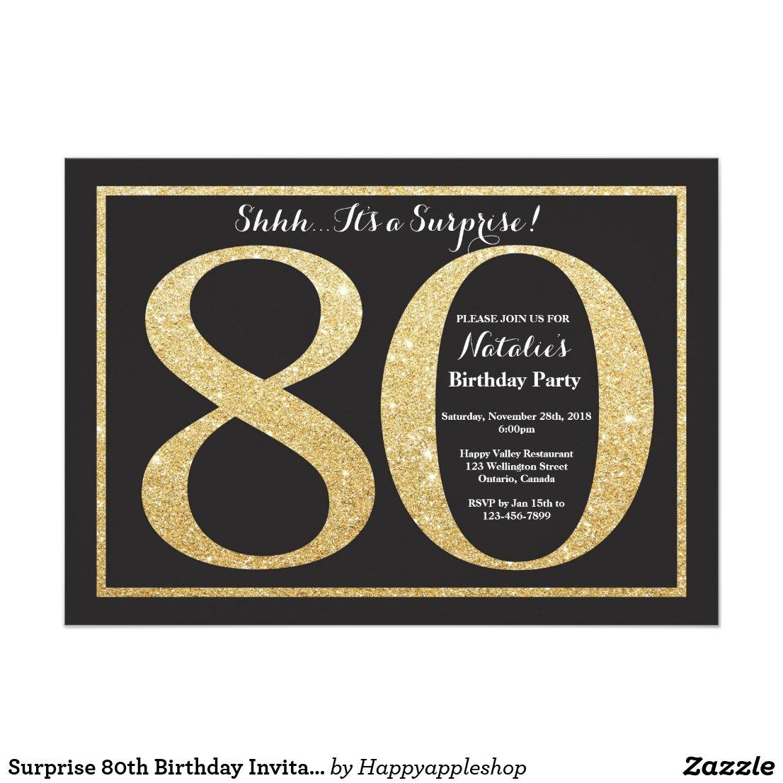Surprise 80th Birthday Invitation Gold Glitter Zazzle