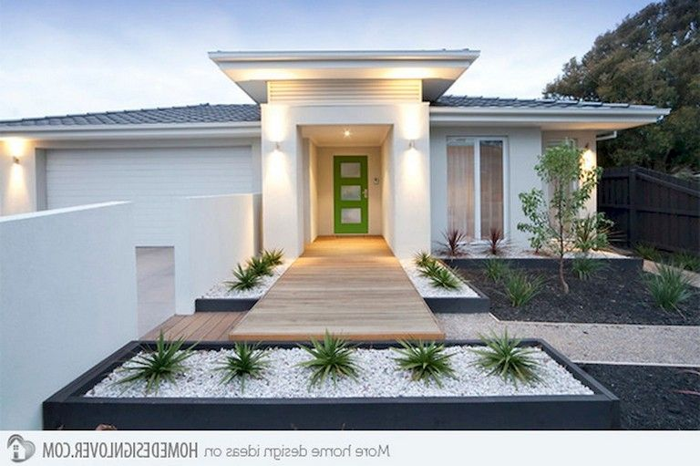 37 Lovely Front Yard Landscaping Ideas Modern Front Yard Modern Landscaping Front Yard Design