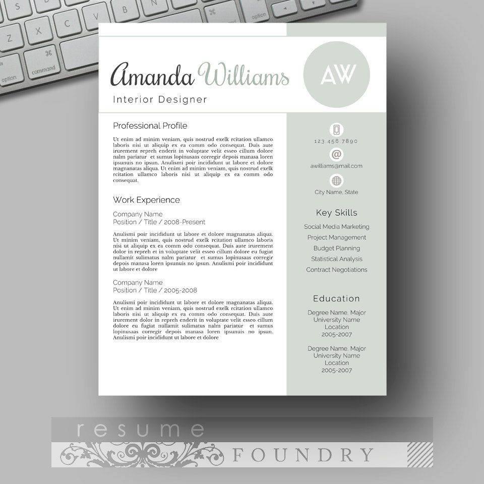 Modern Resume Template  Cv Template Cover By Resumefoundry