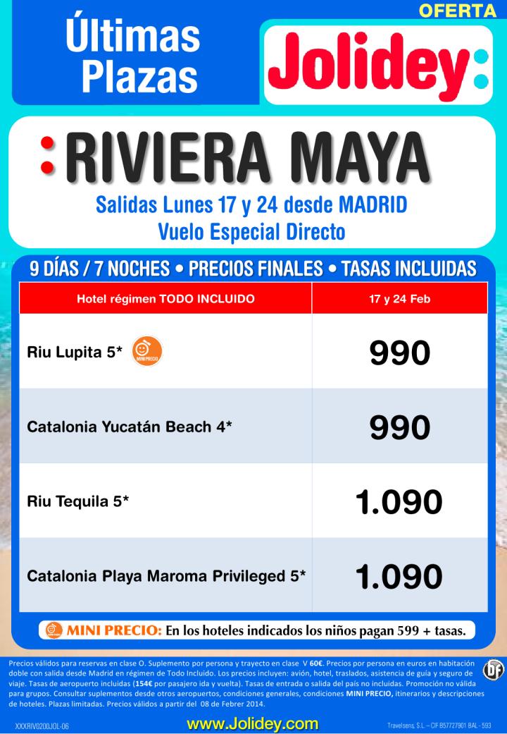 Ultimas Plazas a Riv. Maya desde 990 euros. Salidas Lunes 17 y 24 Febrero desde Madrid ultimo minuto - http://zocotours.com/ultimas-plazas-a-riv-maya-desde-990-euros-salidas-lunes-17-y-24-febrero-desde-madrid-ultimo-minuto/