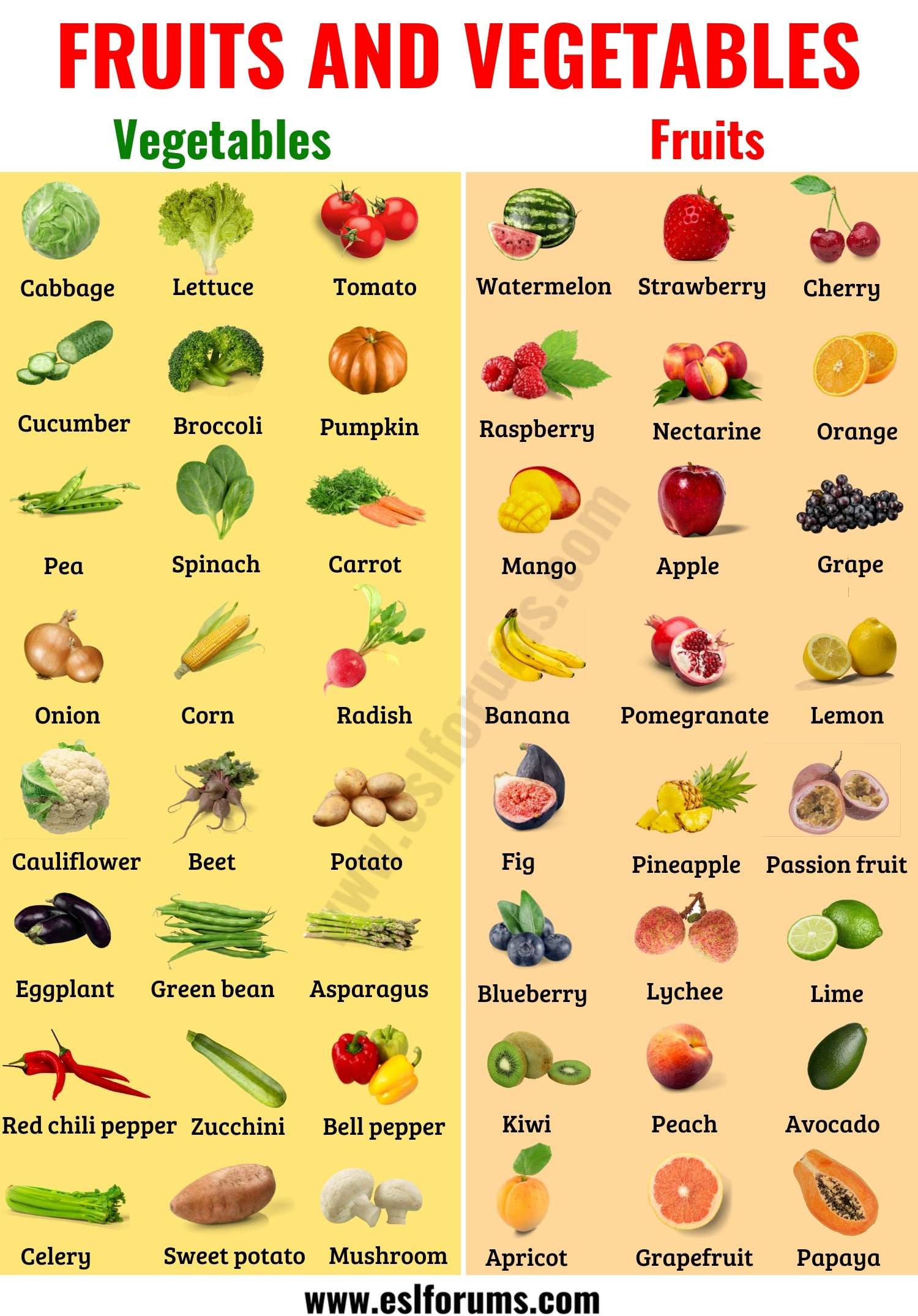 Useful List Of Fruits And Vegetables In English With Esl