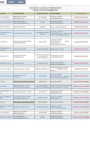 Una lista para actividades