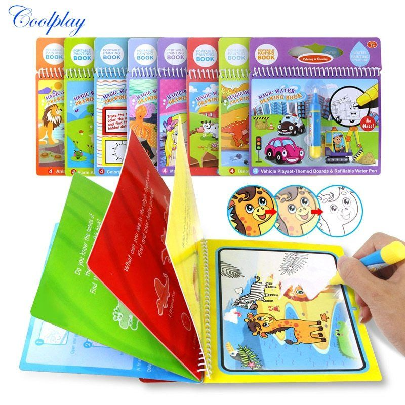 Magic Water Drawing Book Coloring Book Doodle Magic Pen Painting Drawing Board For Kids Toys Birthday Gift Vallexmall Water Drawing Doodle Books Drawing Toys