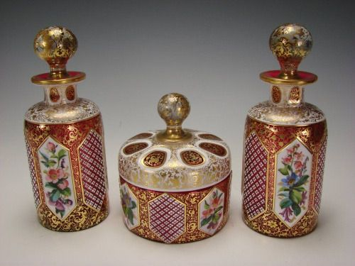 Fantastic set of 19th century Bohemian cranberry glass with enamel.