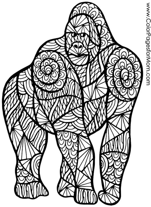 ape gorilla coloring page - Art Therapy Coloring Pages Animals
