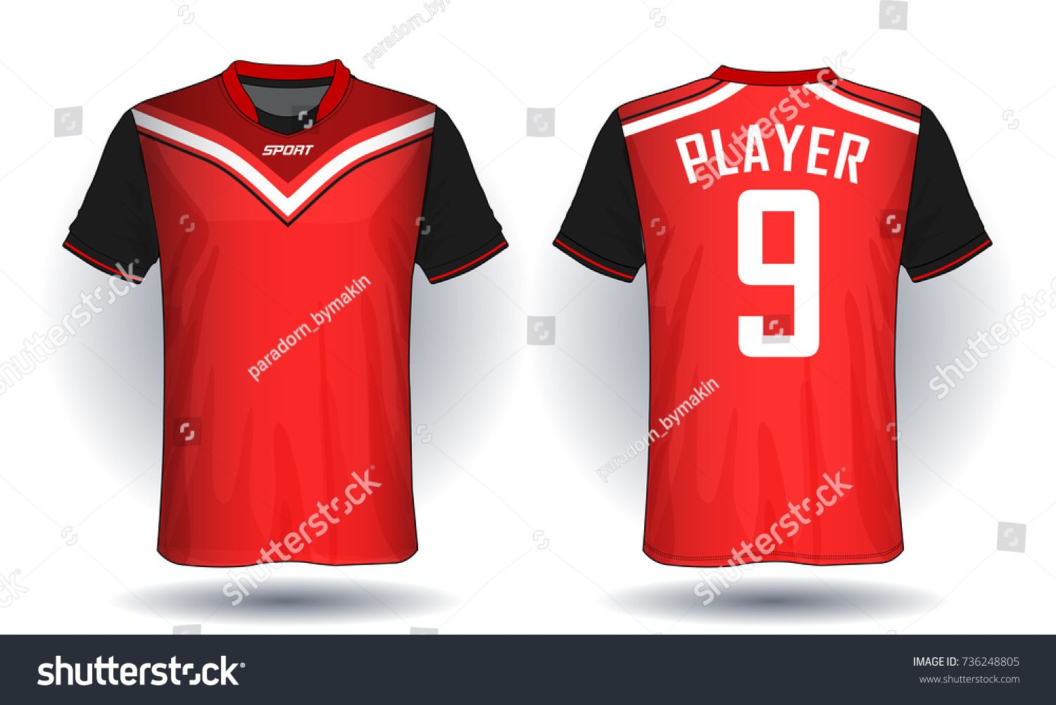 0d98bc5b536 Soccer jersey template.Red and black layout sport t-shirt design ...