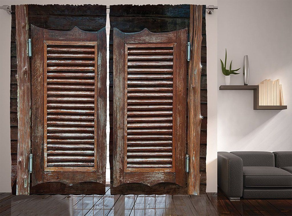 Rustic Wild West Swinging Wooden Cowboy Bar Saloon Door Curtains Wall Thelma S Online Western Decor Brown Living Room Decor Western Curtains