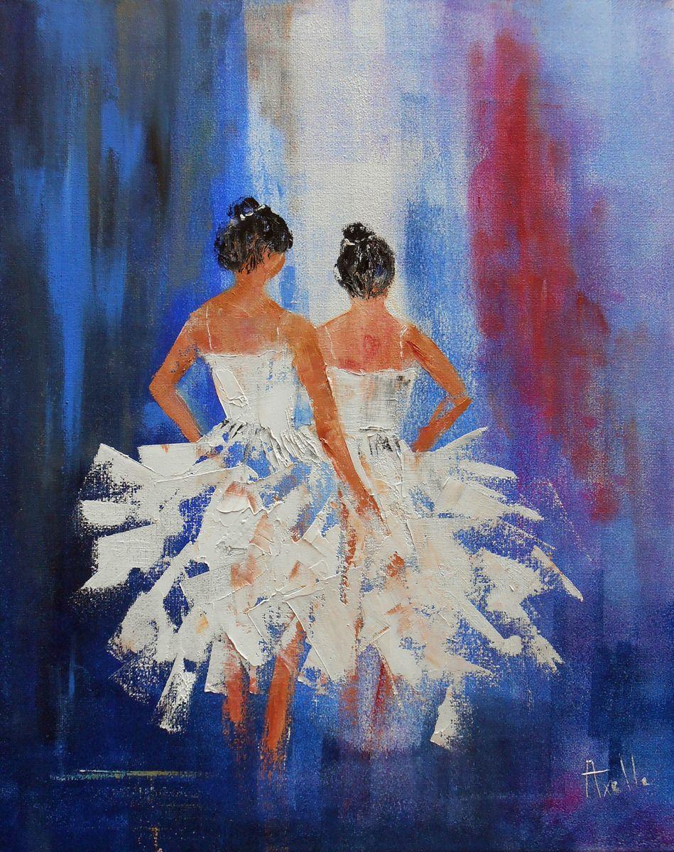 Tableau deux danseuses classique huile au couteau sur - Tableau peinture sur toile ...