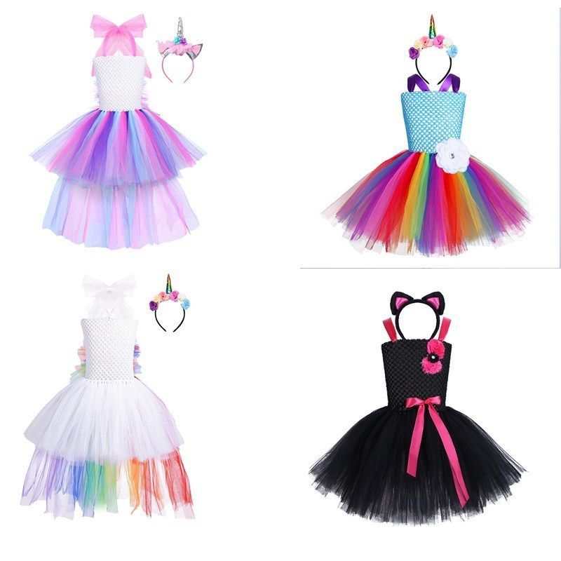 d19ba4bb5 Kids Girls Cosplay Princess Tutu Unicorn Fancy Dress Up Party ...