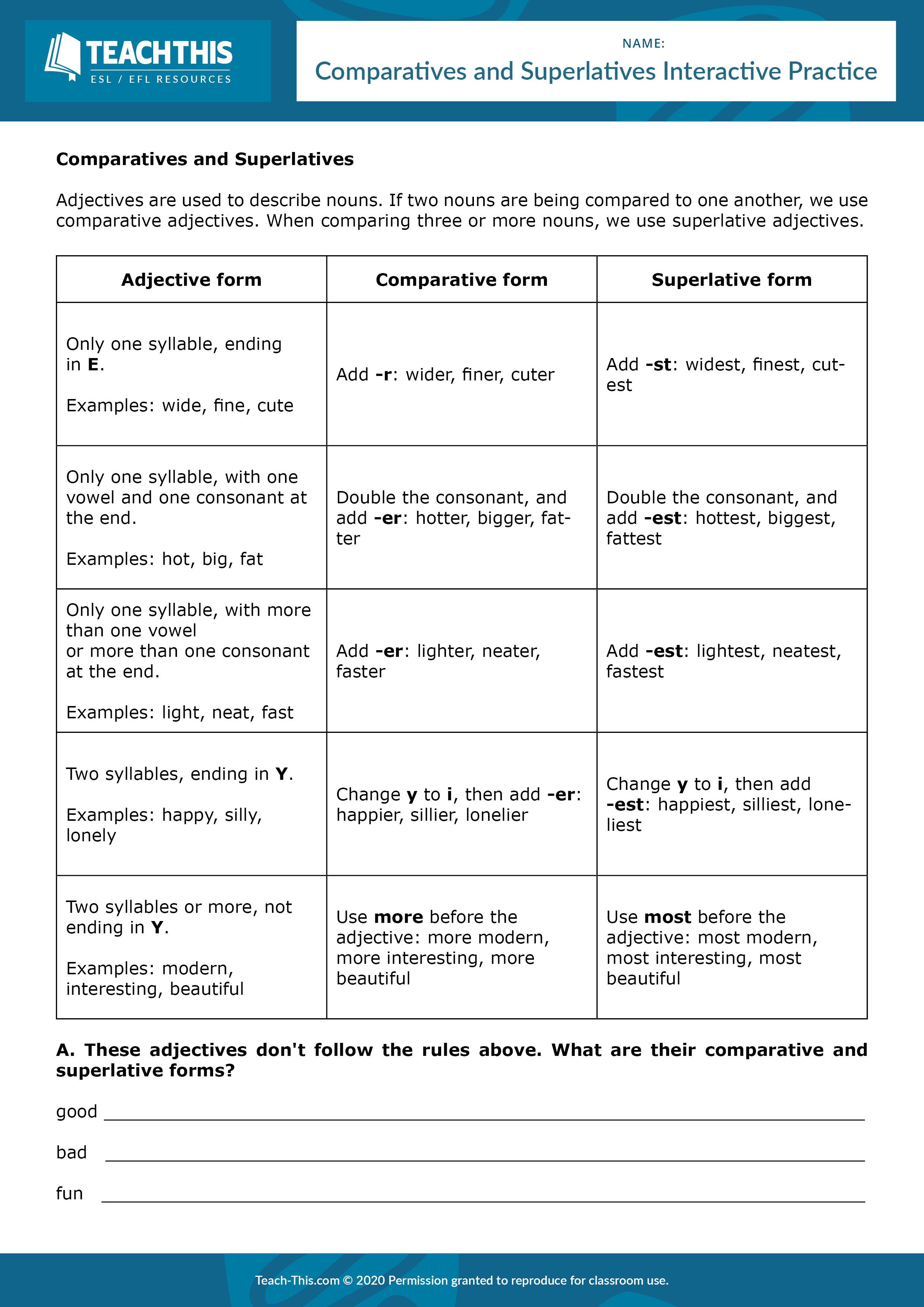 Comparatives And Superlatives Interactive Practice In