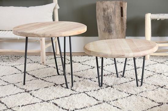 Table En Bois De Chene Brut Et Pieds En Fer Forge Fabrication