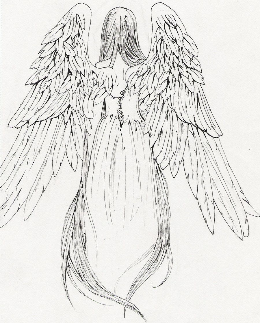 Tattoo design of a cross with an angel wing and a demon wing