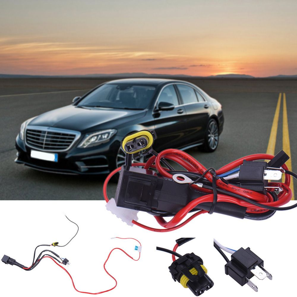 1pc Universal Car Xenon Hid Wire Assembly H4 9003 Relay Harness Wiring Connector Plugs Extension Kit Socket Plug
