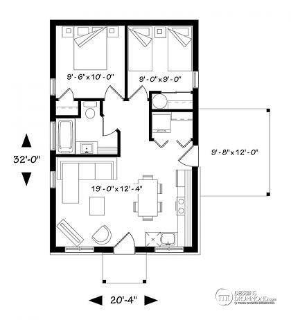 rez de chauss e plan de maison moderne rustique 2 chambres aire ouverte la cuisine et salle. Black Bedroom Furniture Sets. Home Design Ideas