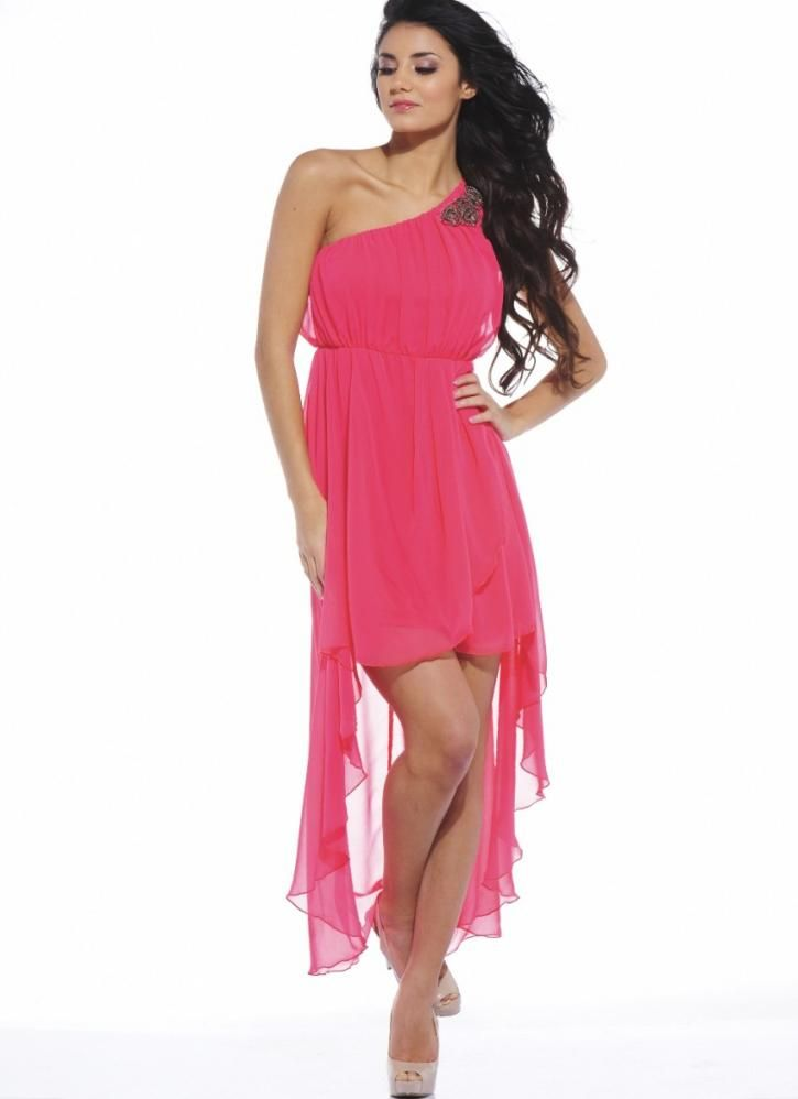 Coral Formal Dress - Coral One Shoulder High-Low Chiffon   UsTrendy ...