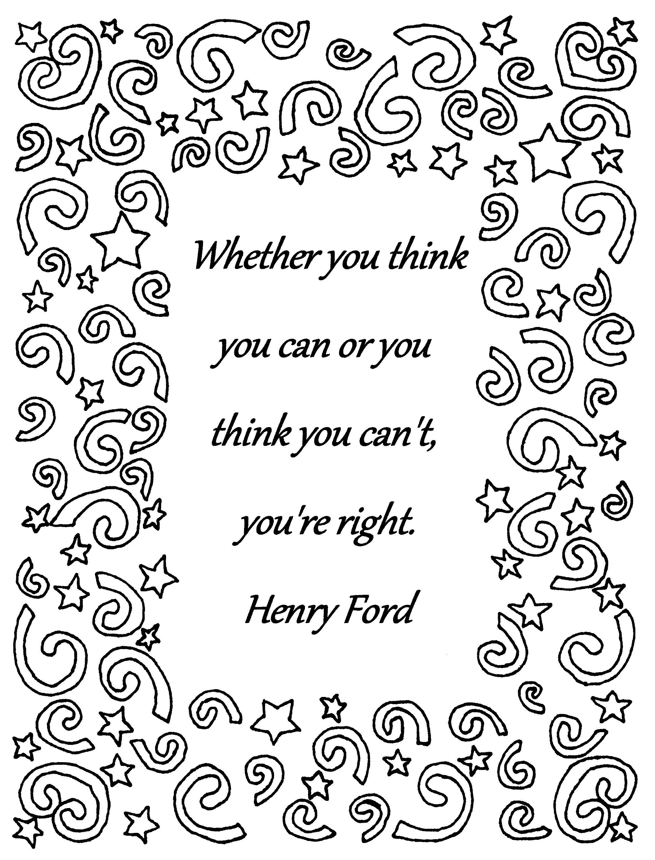 Whether You Think You Can Henry Ford Quote Coloring Page Download