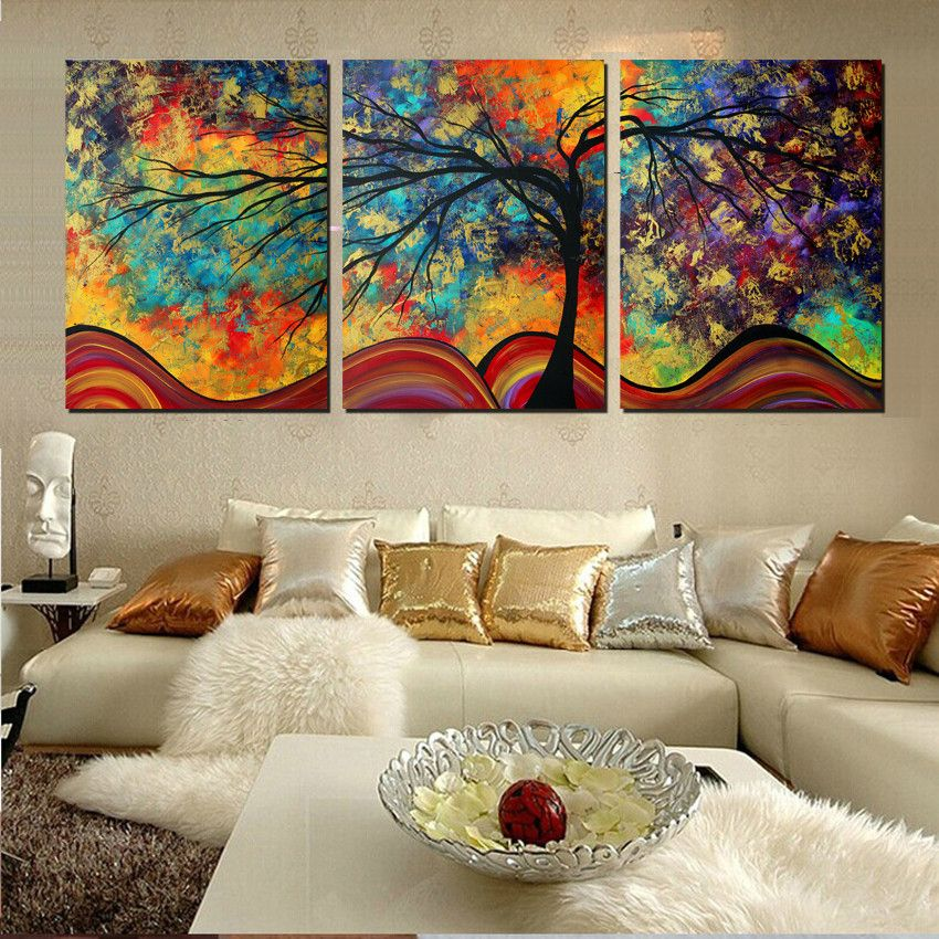 Large wall art home decor abstract tree painting colorful for Wall art paintings for living room