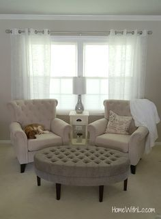 Double Tufted Arm Chairs With Tufted Ottoman For A Formal Sitting Room.  Great Little Reading/coffee Nook For The Morning! More Information  Including Source ...