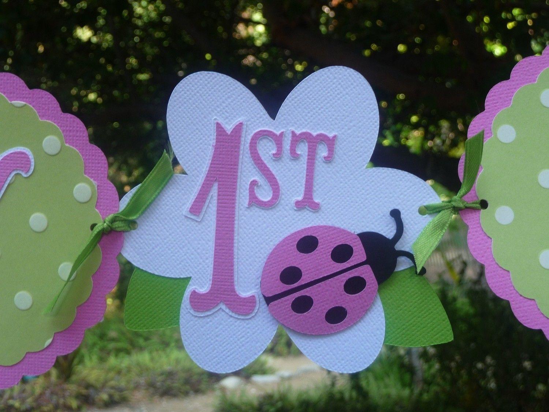 Green and Hot Pink Ladybug Birthday Banner Custom 1st birthday