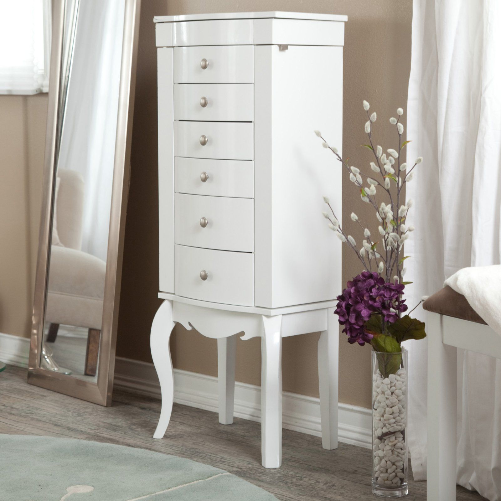 white armoire. White gloss bedroom furniture, White