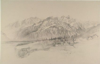 Ruskin, John - The Brezon and Alps of the Reposoir, seen from Mornex: finished pencil Sketch from Nature