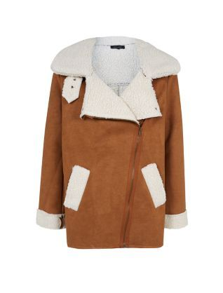 Camel Premium Shearling Lined Biker Jacket  | New Look
