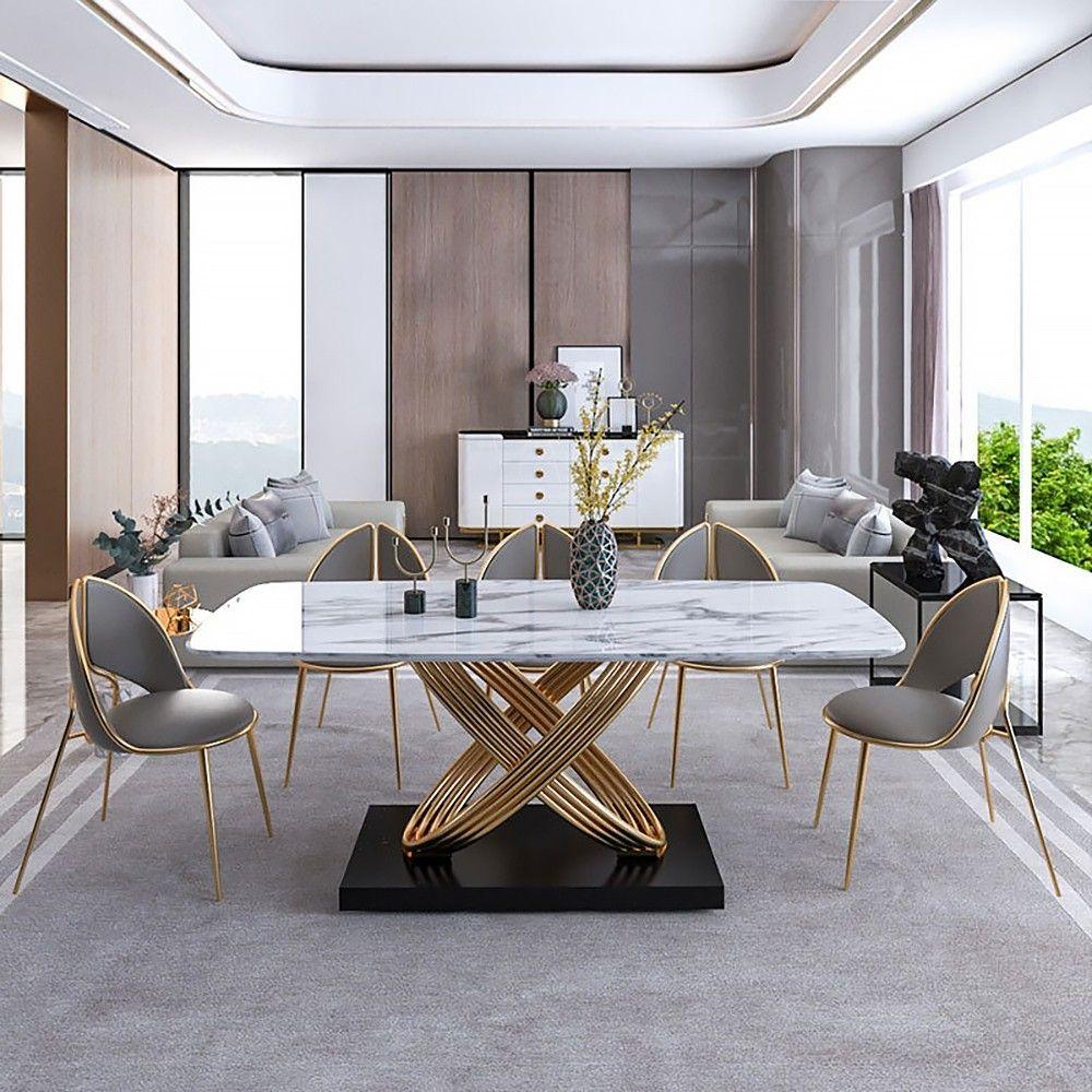 White Marble Dining Table Rectangular Modern Minimalist Design ...