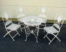 Eisen Mobel Sitzgruppe Tisch 4 X Stuhle Garten Garnitur Antik