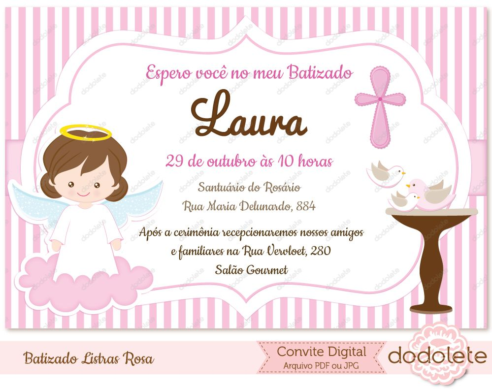 Convite Digital Batizado Listras Rosa Convites Digitais