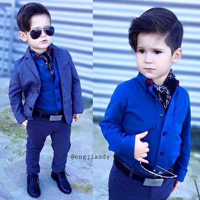 Dressed Up Boy Shirtcute Blazer And Dark Blue Pants Belt