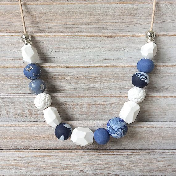 Shadess of Blue and White handmade necklace, polymer clay necklace, beaded necklace handmade by rubybluejewels