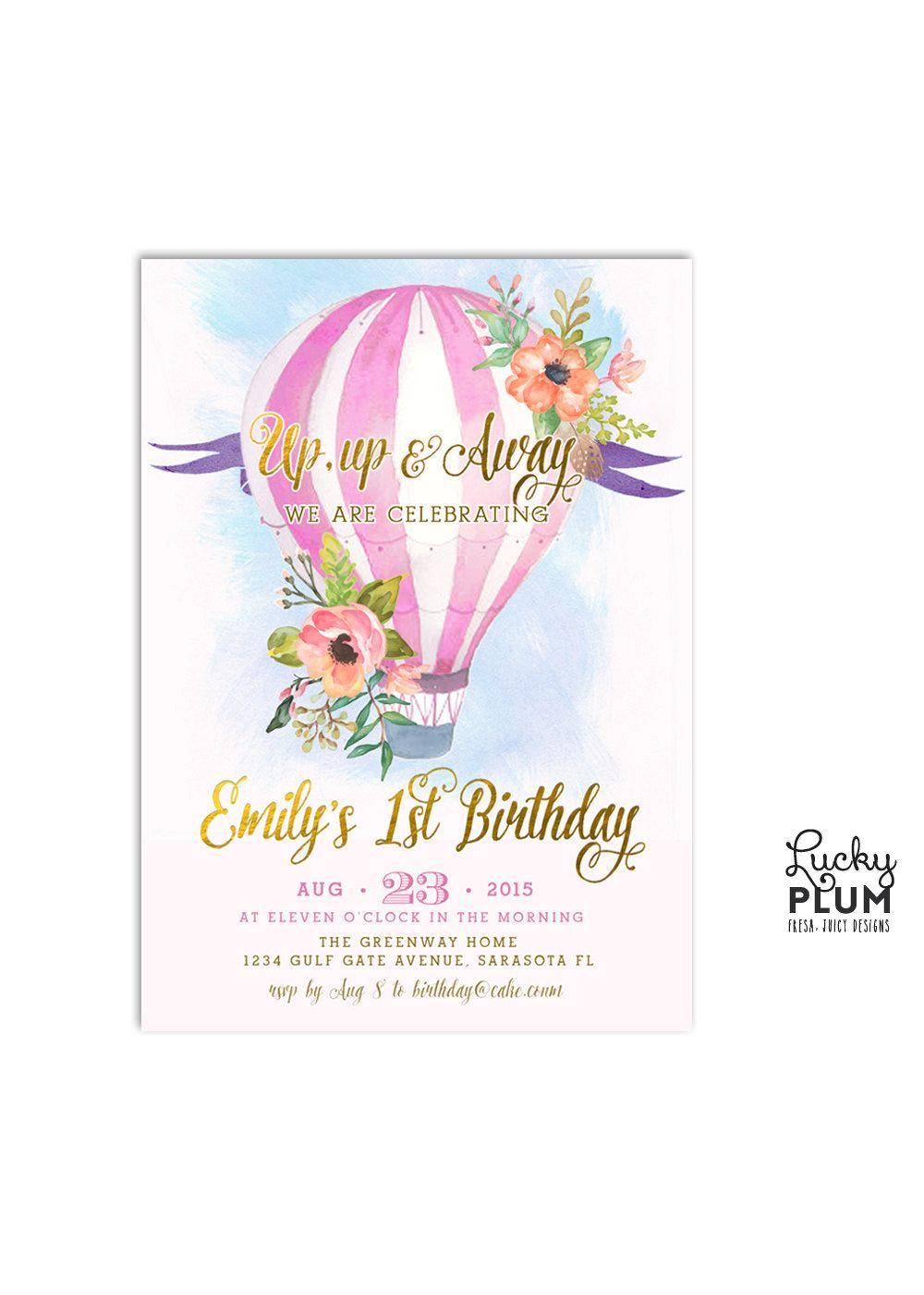 Hot Air Balloon Birthday Invitation / Watercolor Invite / Pink Green ...