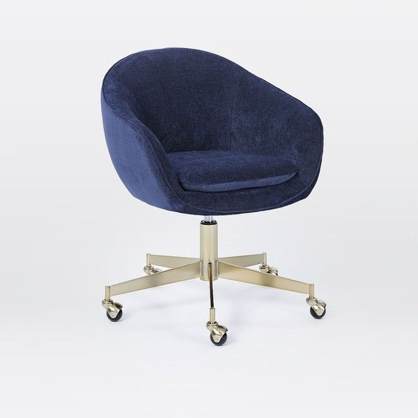 West Elm Alysfemme Office Chair Navy 399 Liked On Polyvore Featuring Home Furniture Chairs Office Office Chair Swivel Office Chair Eames Office Chair