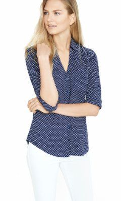 3a4290b0d5f6 slim fit navy and white polka dot portofino shirt from EXPRESS ...