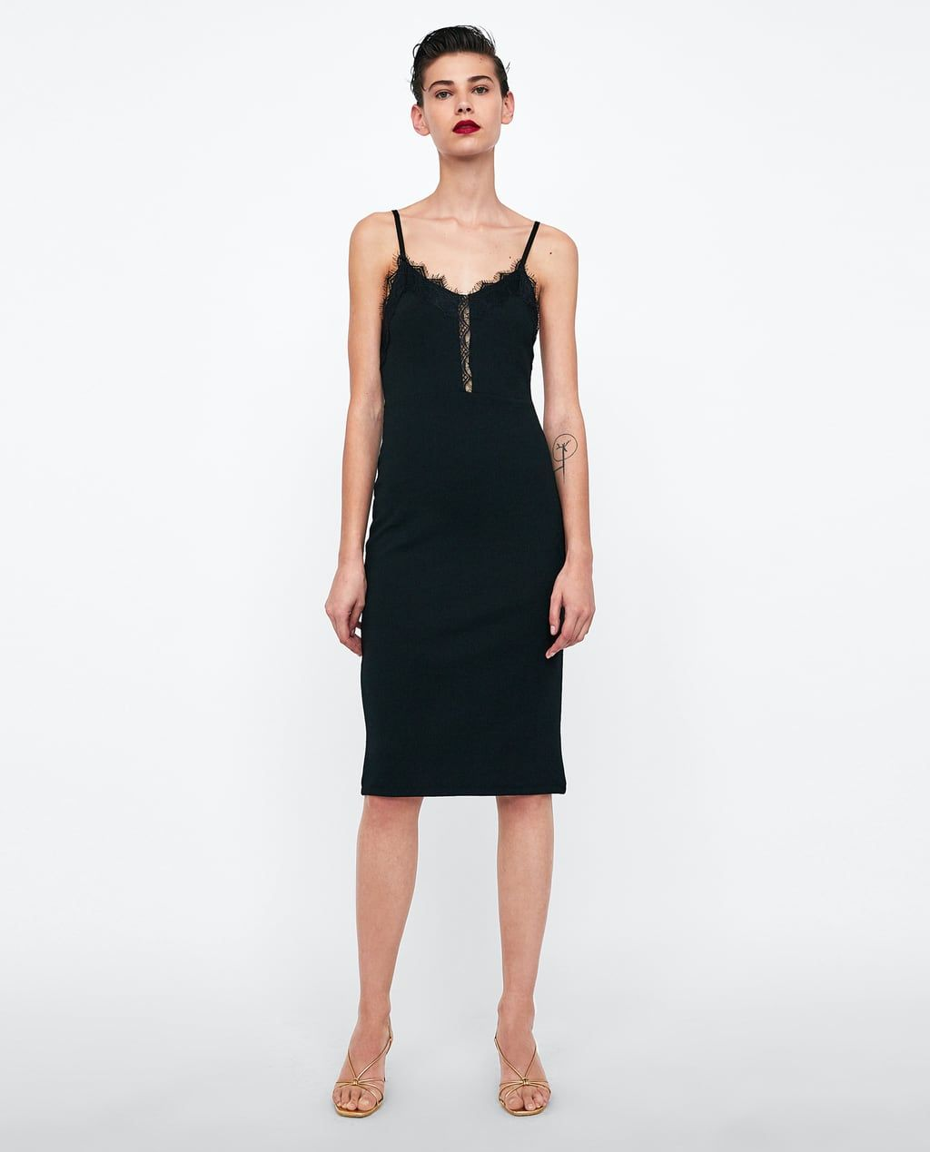 Image 1 of CAMISOLE DRESS from Zara | Tuch, Schwarzes ...