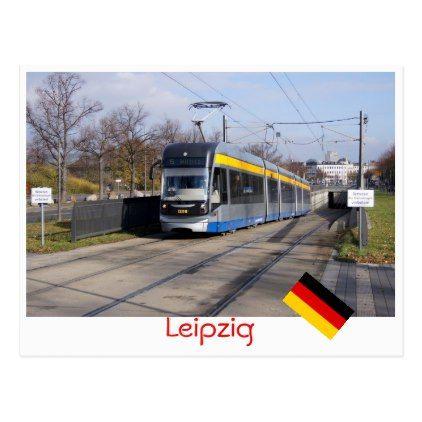 Leipzig tram postcard - postcard post card postcards unique diy cyo customize personalize