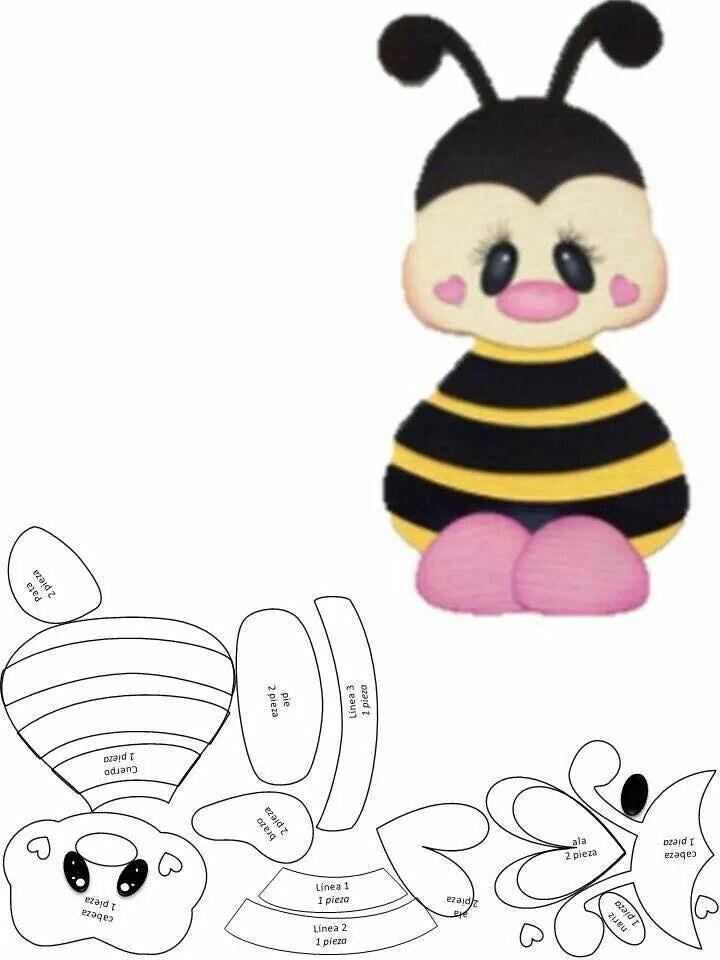Aplique abelhinha | Foami | Moldes, Abejas y Patrones