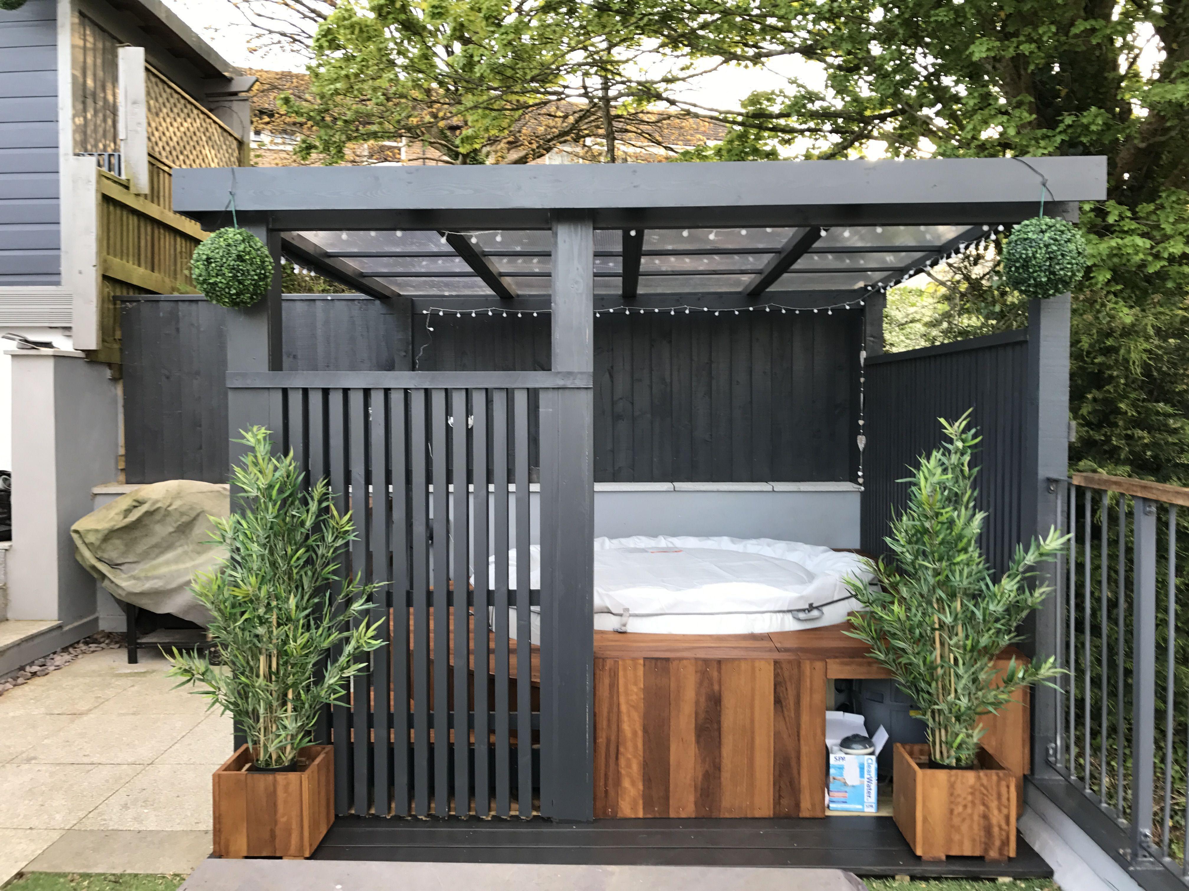 Modern Grey Pergola Lazy Spa Hot Tub Iroko Surround Https Www Divesanddollar Com Pool Safety Fence Hot Tub Landscaping Hot Tub Backyard Hot Tub Patio Modern patio with hot tub