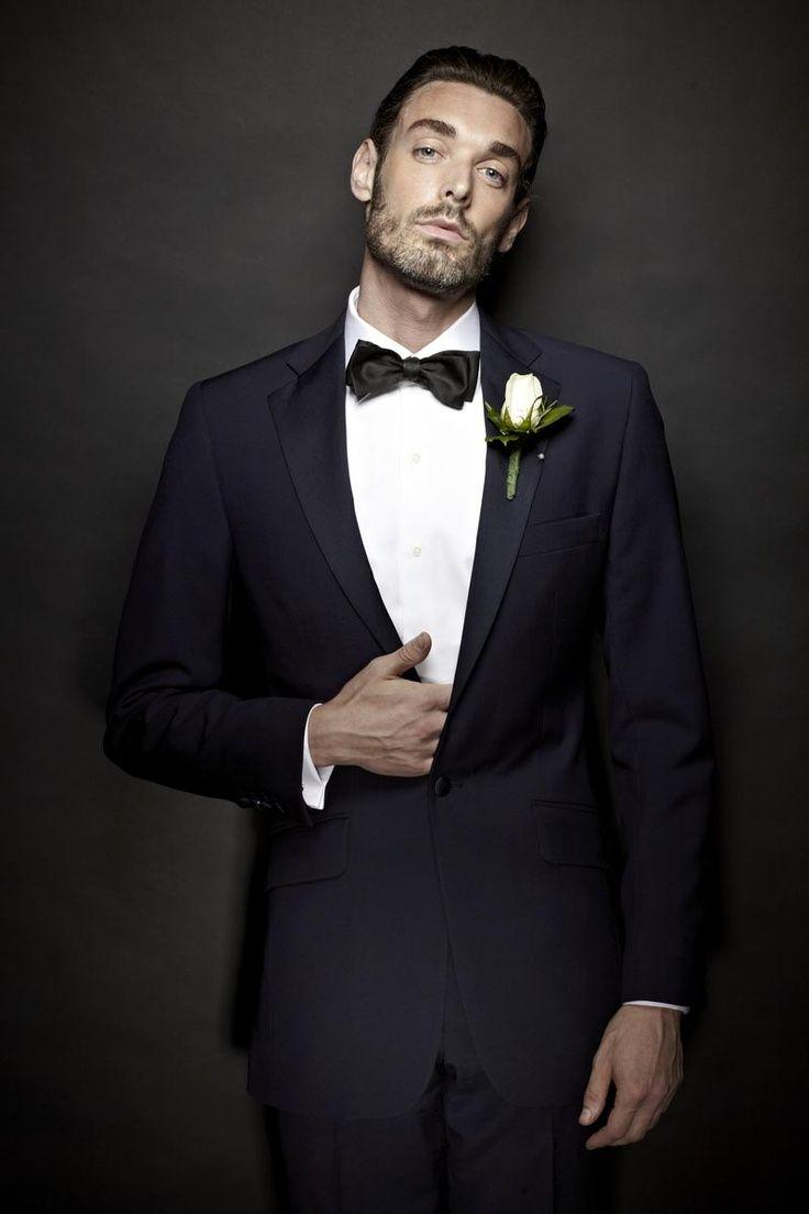 Click to Buy << wedding tuxedo dark blue groom wear slim fit suits ...