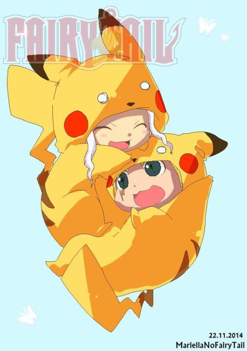 Pikachu Mirajane and Laxus ! cuteee