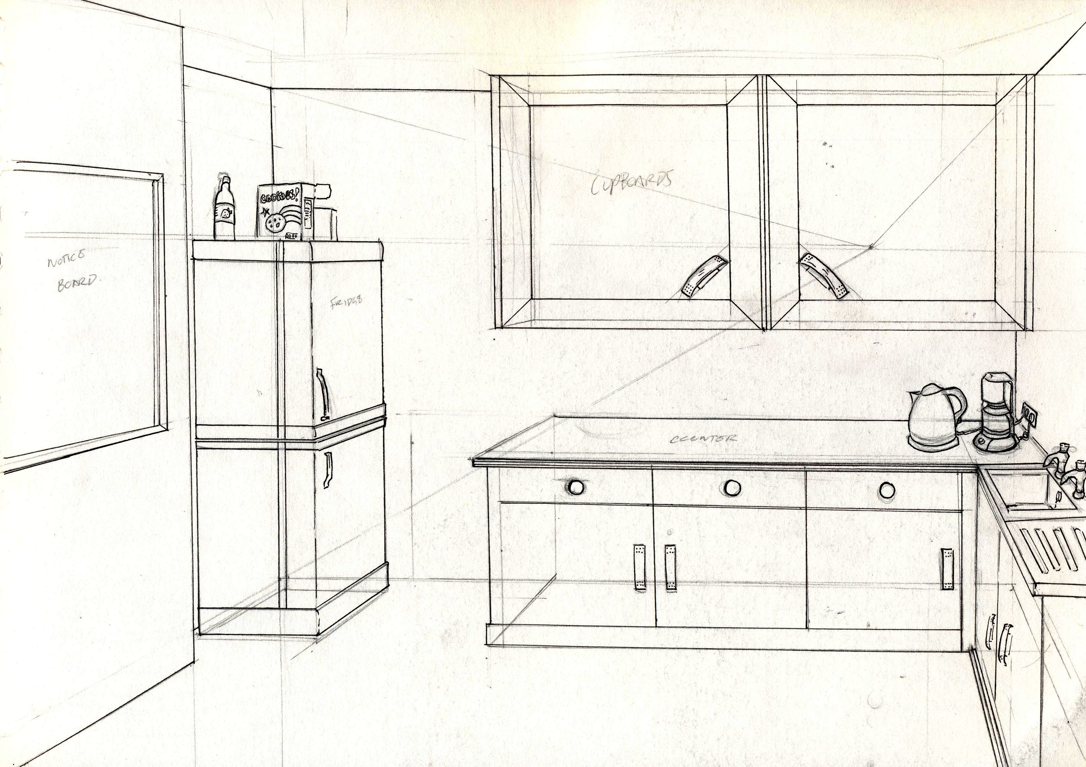 Break Room Aesthetic And Props Perspective Drawing Perspective Room Easy Drawings