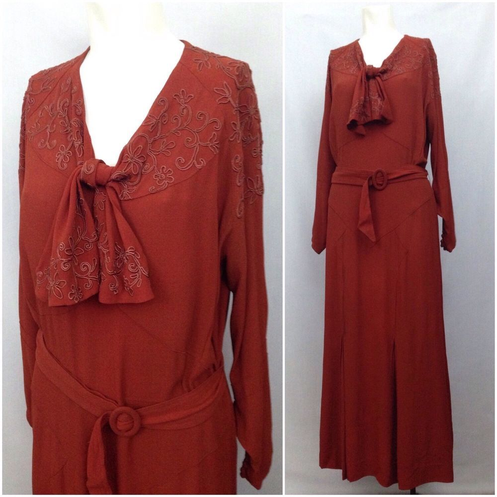 Rare vintage s burgundy crepe emboidery belted long dress
