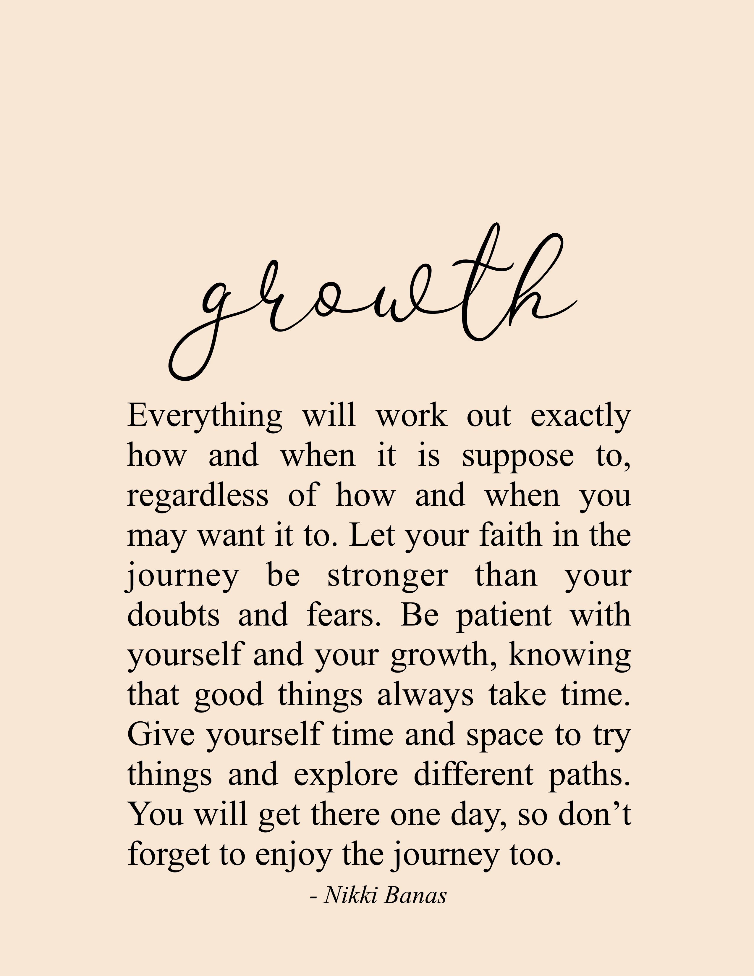 "Growth 5.5"" x 5"" Print in 5  Encouragement quotes, Be"