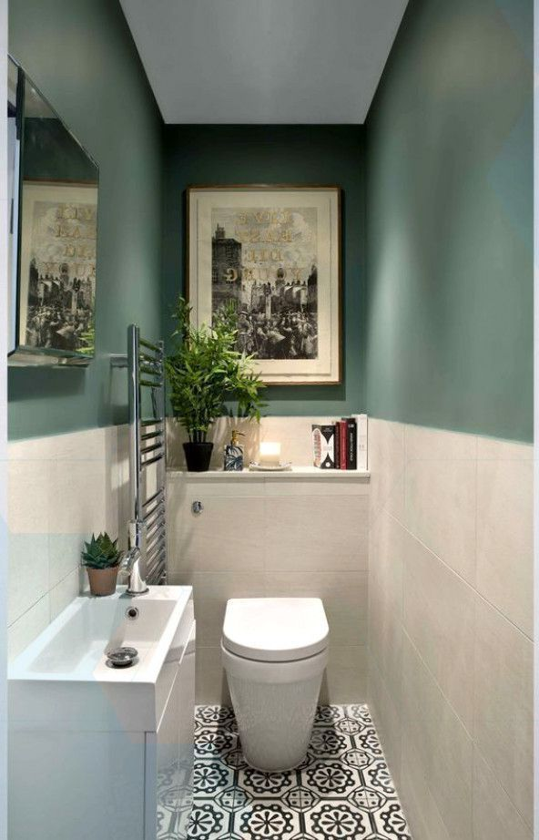 Green and patterned tile bathroom by kingstonlaffe - works so well in a small space  #bathroom #green #homedecor #smalltoiletroom